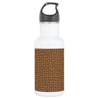 Dark brown jute burlap photo realistic 18oz water bottle