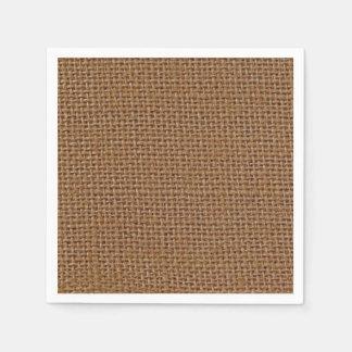 Dark brown jute burlap photo realistic paper napkin