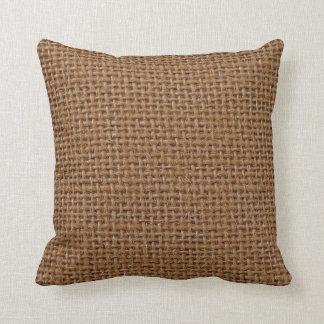 Dark brown jute burlap photo realistic throw pillow