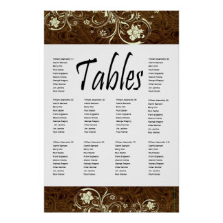 Dark Brown Leather and Cream Lace Seating Chart Print