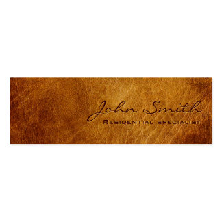 Dark Brown Leather Landscaping Business Card