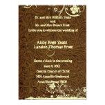 Dark Brown Leather Look Lace Wedding Invitation