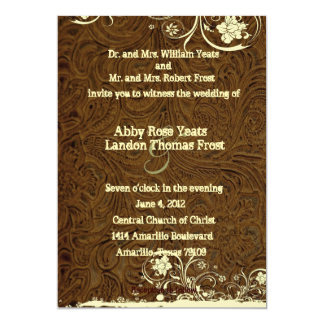 "Dark Brown Leather Look Lace Wedding Invitation 5"" X 7"" Invitation Card"