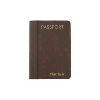 Dark Brown Leather Look Passport Holder