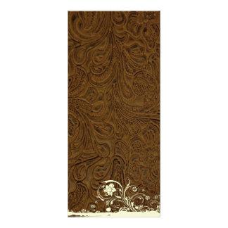 Dark Brown Leather Look Wedding Program Menu