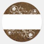 Dark Brown Leather Look White Lace Seals Classic Round Sticker