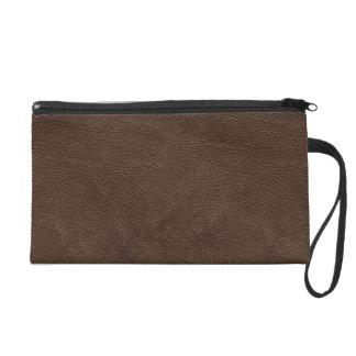 Dark brown leather texture wristlet purse