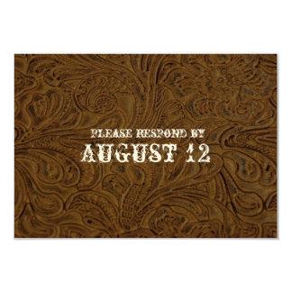 "Dark Brown Leather Wedding RSVP with envelopes 3.5"" X 5"" Invitation Card"