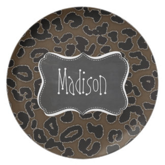 Dark Brown Leopard Animal Print; Chalkboard Plate