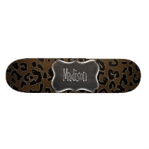 Dark Brown Leopard Animal Print; Chalkboard Skateboard Deck