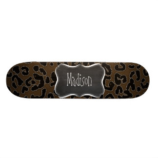 Dark Brown Leopard Animal Print; Chalkboard Skateboard Deck