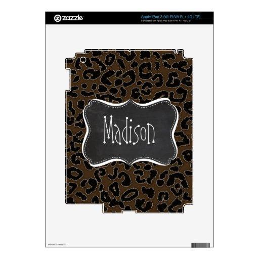 Dark Brown Leopard Animal Print; Chalkboard iPad 3 Skin