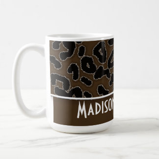 Dark Brown Leopard Animal Print; Personalized Classic White Coffee Mug