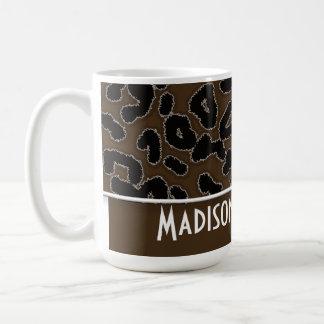 Dark Brown Leopard Animal Print; Personalized Coffee Mug