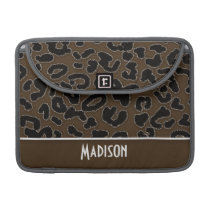 Dark Brown Leopard Animal Print; Personalized MacBook Pro Sleeve