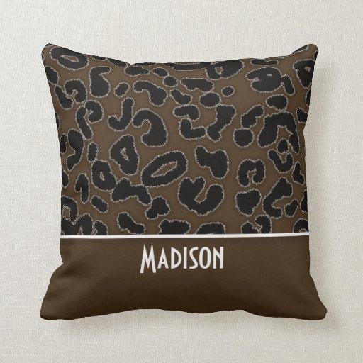 Dark Brown Leopard Animal Print; Personalized Pillows Zazzle
