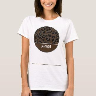 Dark Brown Leopard Animal Print; Personalized T-Shirt