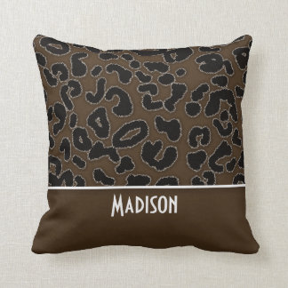 Dark Brown Leopard Animal Print; Personalized Throw Pillow