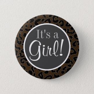 Dark Brown Leopard Print Button