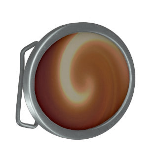 Dark Brown Light Spiral Art Oval Belt Buckle