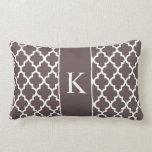 Dark Brown Moroccan Custom Monogram Throw Pillows