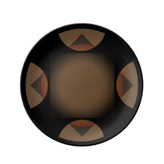 Dark Brown Motif accent Porcelain Plate