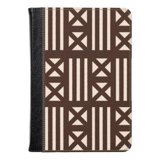 Dark Brown MudCloth Inspired Tile Tiling Cross Kindle Case