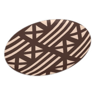 Dark Brown MudCloth Inspired Tile Tiling Cross Melamine Plate