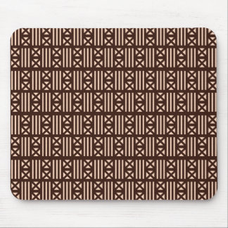 Dark Brown MudCloth Inspired Tile Tiling Cross Mouse Pad