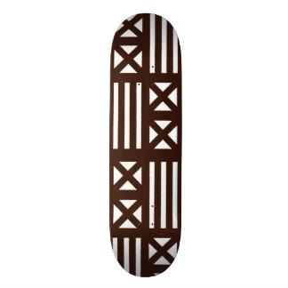 Dark Brown MudCloth Inspired Tile Tiling Cross Skateboard Deck