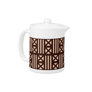 Dark Brown MudCloth Inspired Tile Tiling Cross Teapot