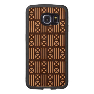 Dark Brown MudCloth Inspired Tile Tiling Cross Wood Phone Case