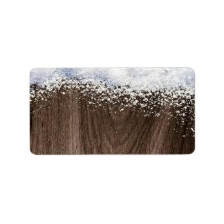 Dark brown oak wood grain winter snow blank labels