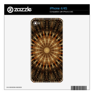 Dark Brown Orange Kaleidoscope Mandala Art Decal For iPhone 4