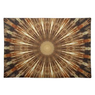 Dark Brown Orange Kaleidoscope Mandala Art Placemat