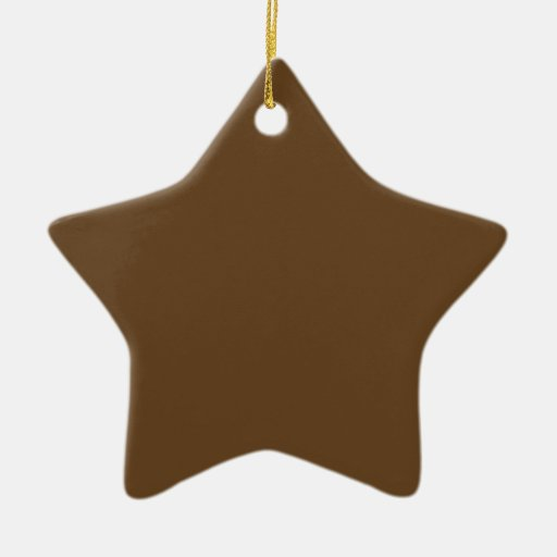 Dark Brown Double-Sided Star Ceramic Christmas Ornament