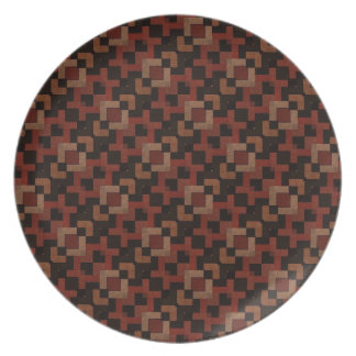 Dark Brown Pattern Melamine Plate