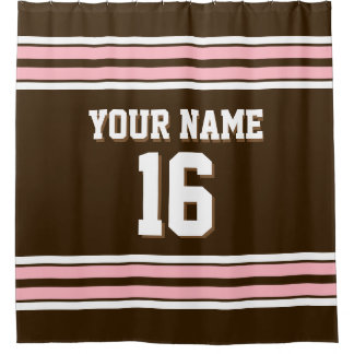 Dark Brown Pink White Stripes Sports Jersey Shower Curtain