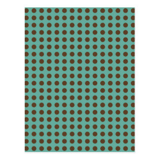 DARK BROWN POLKADOTS MINTY GREEN BACKGROUNDS DOTS POSTCARD