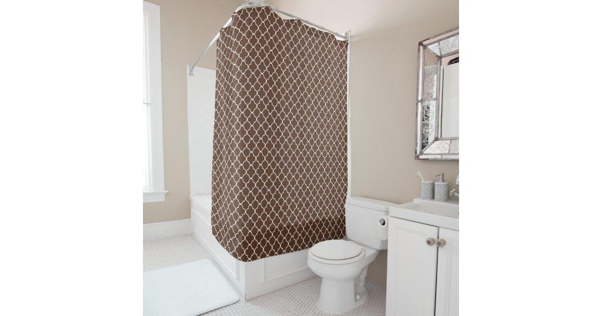 Dark Brown Quatrefoil Shower Curtain