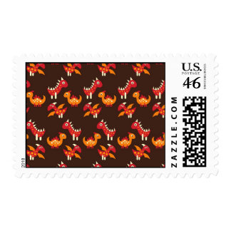 Dark Brown Red and Orange Spiked Dinosaurs Stamps