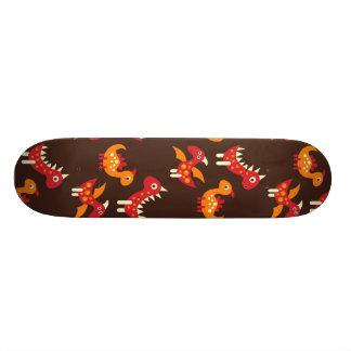 Dark Brown Red and Orange Spiked Dinosaurs Skateboard Deck