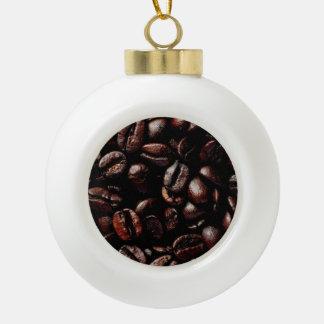 Dark Brown Roasted Coffee Beans Texture Ceramic Ball Christmas Ornament
