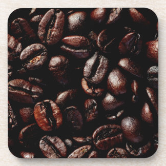 Dark Brown Roasted Coffee Beans Texture Coaster