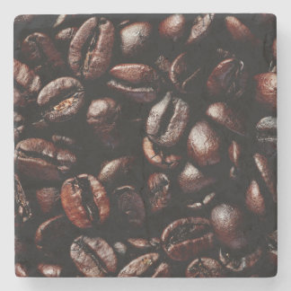 Dark Brown Roasted Coffee Beans Texture Stone Coaster