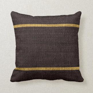 Dark Brown Rustic Burlap Jute Background Throw Pillow