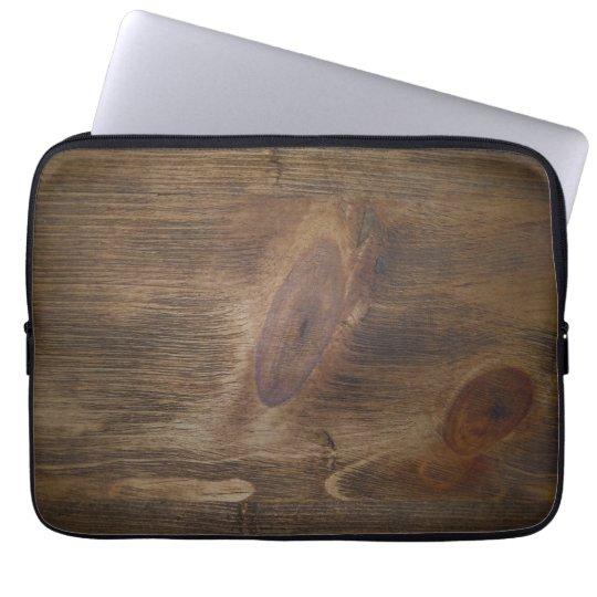 """Dark Brown Rustic Wood Look Background - 13"""" ONLY Computer Sleeve"""