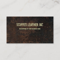 Dark Brown Scuffed Leather Look Business Card