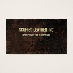 Dark Brown Scuffed Leather Look Business Card at Zazzle