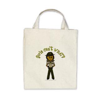 Dark Brown Sheriff Girl Tote Bags